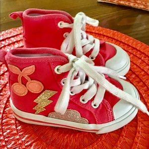 Gymboree sneakers size 6 toddler pink white toe🐹
